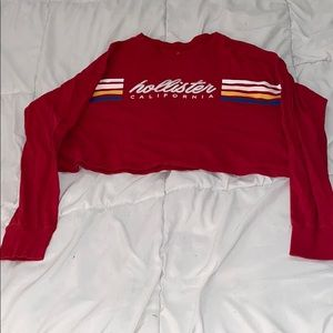 Cropped Red Hollister Long-Sleeve